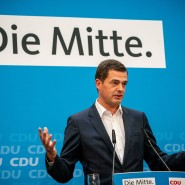 Mike Mohring spricht vergangenen Montag vor der Presse in Berlin.