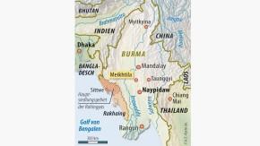 Karte / Burma / Sittwe / Hauptsiedlungsgebiet der Rohingyas