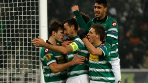 Borussia Moenchengladbach's players celebrate a penalty goal against Lazio during their Europa League soccer match in Moenchengladbach