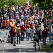 Die Polizei geht von etwa 150 Teilnehmern bei der Demonstration gegen die Corona-Beschränkungen in Stuttgart aus.