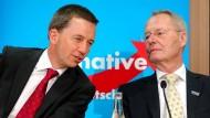 Bernd Lucke (l) und Hans-Olaf Henkel im Juli 2014 auf einer AfD-Pressekonferenz in Berlin