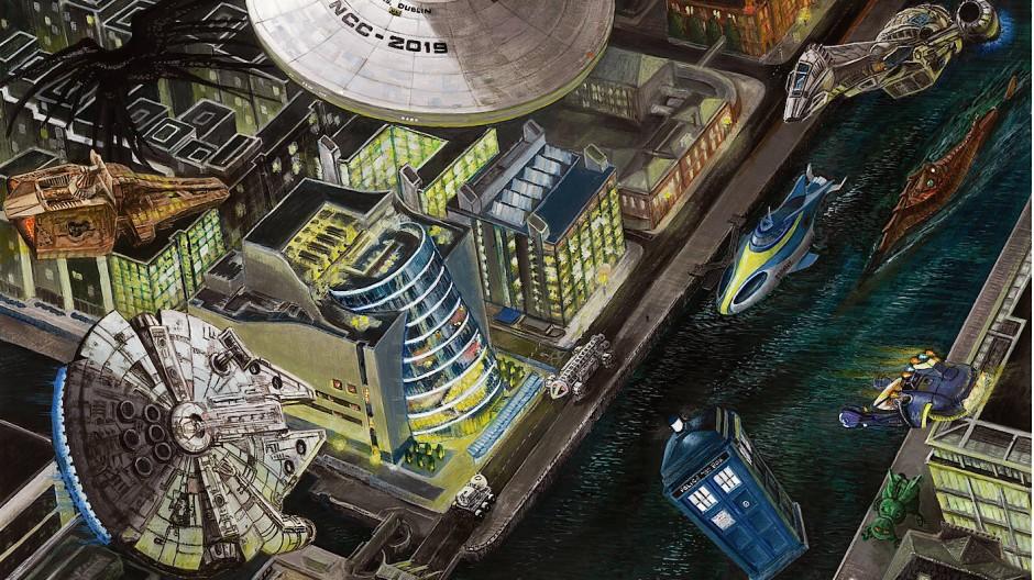Wer da alles landet: In ihrer Eigenwerbung lässt die Worldcon nicht nur das Raumschiff Enterprise in Dublin andocken.