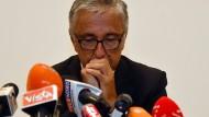 Autostrade-Chef Giovanni Castellucci bei einer Pressekonferenz am Samstag in Genua
