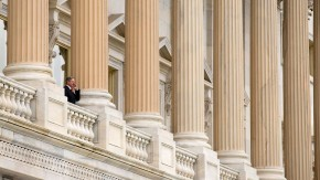 Senator Hoeven speaks on a mobile phone on the Senate Balcony at U.S. Capitol in Washington