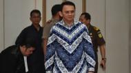 """Jakartas christlicher Gouverneur, Basuki Tjahaja Purnama, bekannt als """"Ahok"""", bei der Gerichtsverhandlung"""