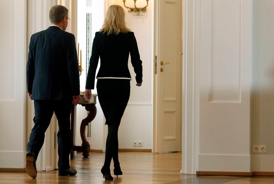 Die Sicht der Dinge im Rückblick: Christian und Bettina Wulff am 17. Februar in Schloss Bellevue, nachdem er seinen Rücktritt erklärt hatte