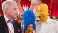 Schwarzgelbe Koalition in Bayern: Horst Seehofer mit Marge und Homer Söder