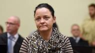 Beate Zschäpe im Gerichtssaal des Oberlandesgerichts München. Der Angeklagten droht eine lebenslange Haftstrafe.