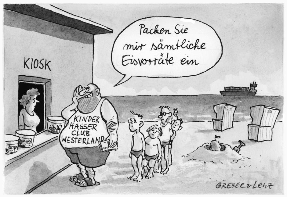 Karikatur greser lenz urlauber kinderhasser club for Depot westerland