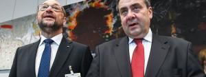 SPD-Kanzlerkandidaz Martin Schulz (l.) und SPD-Außenminister Sigmar Gabriel