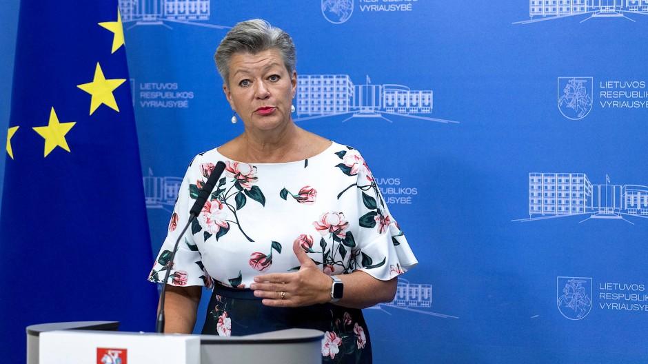 Signalisiert Unterstützung: EU-Kommissarin Ylva Johansson am Montag in Vilnius