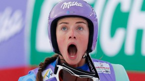 Tina Maze of Slovenia reacts during the women's Super G race at the World Alpine Skiing Championships in Schladming