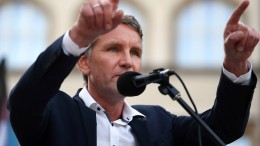 Protest gegen Wahlkampfauftritt von AfD-Politiker Höcke