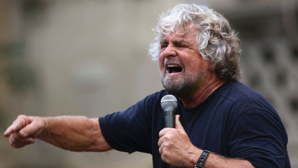 Five-Star Movement activist and comedian Grillo speaks during a rally in support of candidate Cancelleri, in Termini Imerese