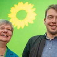 Frisch gewählte Landesvorsitzende der hessischen Grünen: Sigrid Erfurth und Philip Krämer im Mai 2019 (Archivbild)