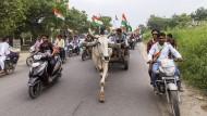 Anhänger der hinduistisch-nationalistischen Partei BJP, die auch die indische Regierung unter Ministerpräsident Narendra Modi stellt