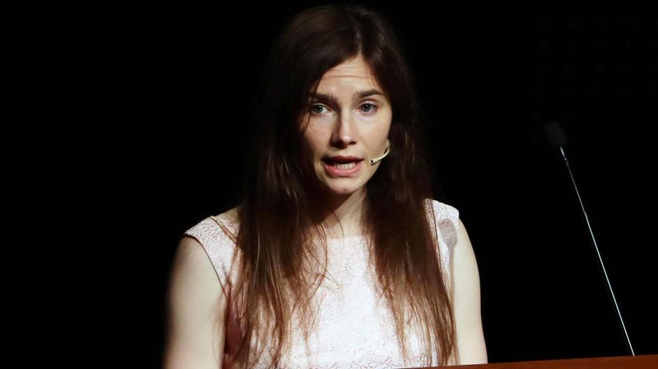 Amanda Knox trat am Samstag auf einem Kongress zu Justizirrtümern in Modena auf: Sie selbst saß fast vier Jahre in Haft, bevor sie freigesprochen wurde.