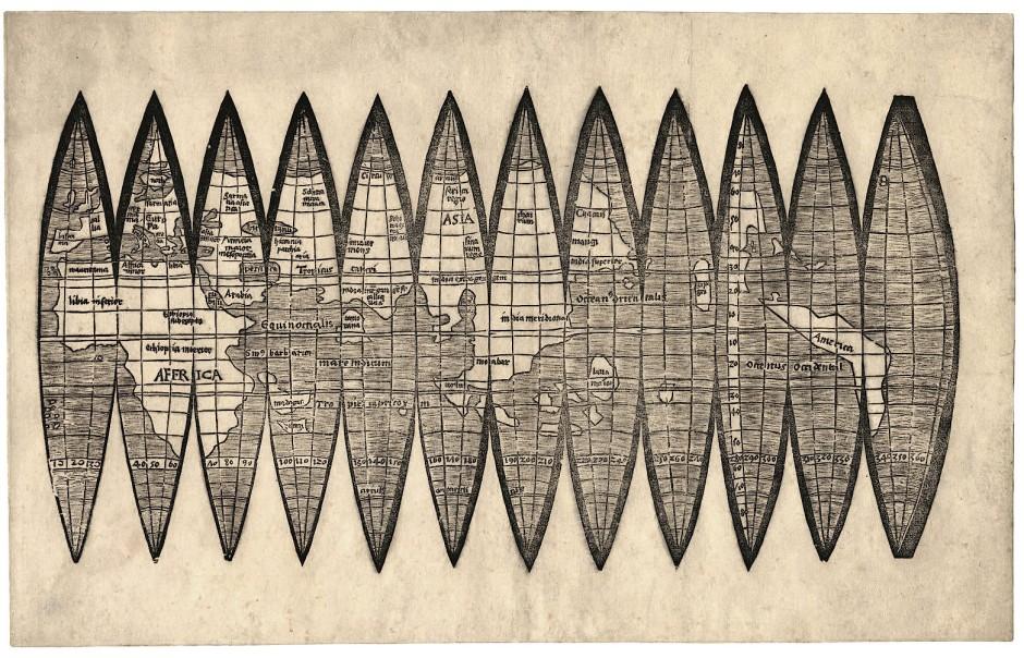 Die ältesten erhaltenen Globusstreifen druckte der Kartograph Martin Waldseemüller im Jahr 1507 noch im Holzschnitt-Verfahren. Ein damit beklebter Globus ist nicht erhalten.