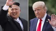 Werden sich vorerst nicht persönlich treffen: Nordkoreas Machthaber Kim Jong-un und Amerikas Präsident Donald Trump.