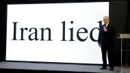 """""""Iran hat gelogen"""": Israels Regierungschef Netanjahu präsentiert in Tel Aviv die neuesten Erkenntnisse seines Geheimdienstes."""