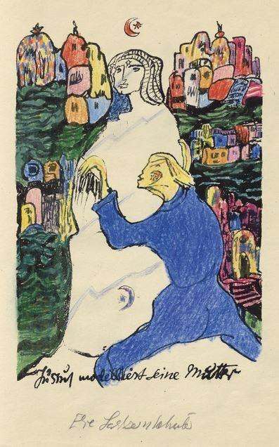 """Prinz Jussuf und seine Mutter, handkoloriert von der Dichterin: Else Lasker-Schüler, """"Theben. Gedichte und Lithographien"""", Frankfurt und Berlin, Querschnitt, 1923. 32 mal 24,5 Zentimeter. Schätzung 12.000 Euro."""