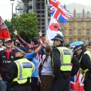Befürworter des Brexits bei einer Demonstration vor dem britischen Parlament.