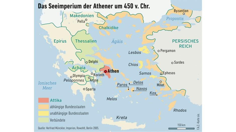 Das kleinste Imperium, dessen Folgen für die europäische Geistesgeschichte indes weitreichend waren, scheiterte 404 v. Chr. mit der Niederlage Athens gegen Sparta.