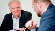 Martin Schulz (r.) und Ulrich Beck diskutieren über Europa