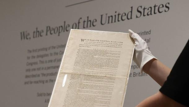 Auktionshaus versteigert Erstausgabe der US-Verfassung