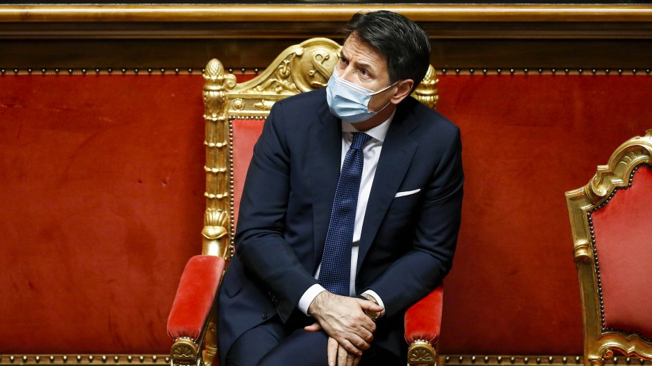 Giuseppe Conte am 19. Januar im Senat in Rom