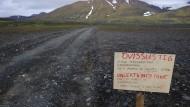 Warnhinweis in der Nähe des Vulkans Bárdarbunga