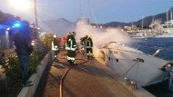 Die Feuerwehr bei den Löscharbeiten in Italien.