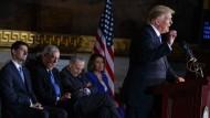 Die führenden Republikaner Paul Ryan und Mitch McConnell sowie die Demokraten Chuck Schumer und Nancy Pelosi verfolgen eine Rede von Präsident Donald Trump.