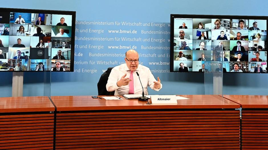 Peter Altmaier Mitte Februar bei einer Videokonferenz mit etwa 40 Wirtschaftsverbänden über die Lage ihrer Mitgliedsunternehmen