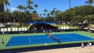 Da lässt es sich aushalten: Das deutsche Tennisteam weiß die Atmosphäre auf Hawaii zu schätzen.