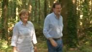 Merkel und Rajoy ein Stück auf dem Jakobsweg