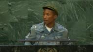 Pharrell Williams spricht vor den Vereinten Nationen über Glück