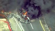 Verkehrschaos durch brennenden Tanklaster