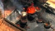 Bohranlage in Flammen