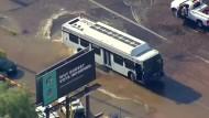 Bus steckt in Wasserloch fest