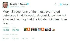 Trump wettert gegen Meryl Streep auf Twitter
