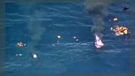 Flüchtlingsboot geht in Flammen auf