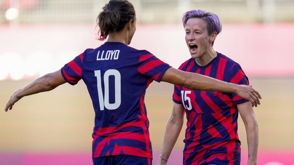 Matchwinnerinnen: Je zwei Tore erzielten Megan Rapinoe und Carli Lloyd beim 4:3 der USA gegen Australien.
