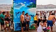 Weißen Sand und blaues Wasser gibt es nur auf der Fotoleinwand