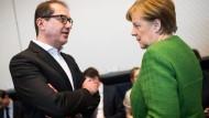 CSU-Landesgruppenchef Alexander Dobrindt und Kanzlerin Angela Merkel