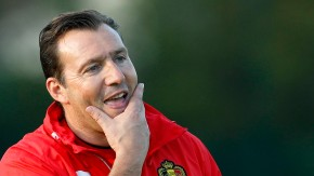 Belgium's national soccer team coach Wilmots is seen during a training session in Brussels