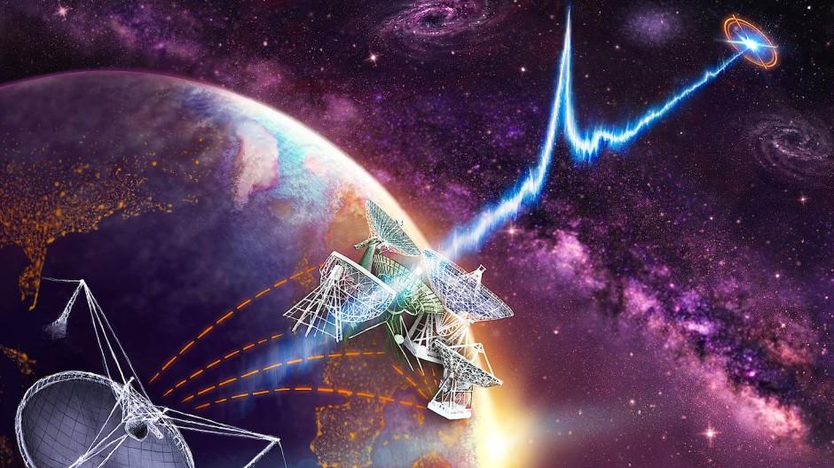 Als Ursprungsort des Radiosignals konnte eine mindestens zwei Milliarden Lichtjahre entfernte Galaxie identifiziert werden.