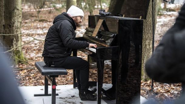 Ein Pianist spielt im Walde