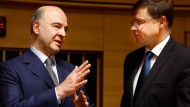 Zukunftsgespräche: EU-Kommissar Pierre Moscovici (links) und Kommissions-Vize Vladis Dombrovskis.