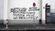 Sozialer Protest an einer Hauswand in Nürnberg